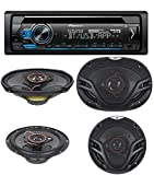 """Pioneer Single Din CD AM/FM Receiver with MIXTRAX, Bluetooth Dual Phone Connection, USB, Spotify, Pandora, iPhone and Android Music Support, Smart Sync App with Pair of 6.5"""" and Pair of 6X9"""" Speakers"""