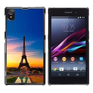 // PHONE CASE GIFT // Duro Estuche protector PC Cáscara Plástico Carcasa Funda Hard Protective Case for Sony Xperia Z1 L39 / Torre Eiffel de Francia /