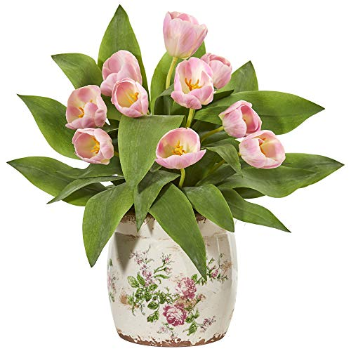 Nearly Natural 1844-PK Tulip Artificial Floral Design Vase Silk Arrangements Pink ()