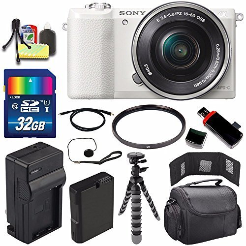 UPC 636983494149, Sony Alpha a5100 Mirrorless Digital Camera with 16-50mm Lens (White) + Battery + Charger + 32GB Bundle 2 - International Version (No Warranty)