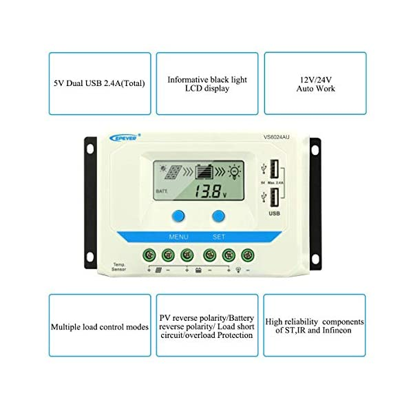 EPEVER-60A-Solar-Charge-Controller-12V24V-Auto-60-amp-Solar-Panel-Charge-Regulator-with-Load-Timer-12V720W-24V1440W-with-LCD-Display-and-Dual-USB-5V-Input-fit-for-Lead-Acid-Batteries