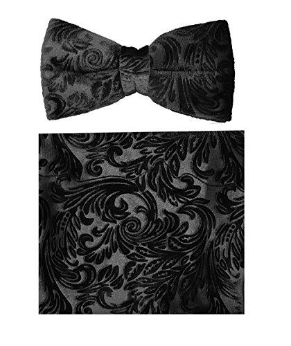 Velvet Bow-Tie Set-BTV600-Black-B (Black Velvet Bow Tie)