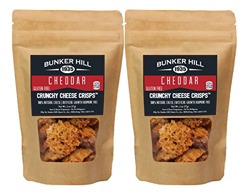 Bunker Hill Crunchy Cheese Crisps 100% Cheese High Protein, Gluten Free, Low Carb, Keto Snacks 2 Ounce Bag (Cheddar, 2 Pack)