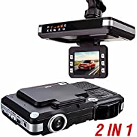 MATCC 2.0LCD 720P 2In1 Car DVR+RD Camcorder Dashboard Dash Cam and Radar Detector with Support G-Sensor, Night Vision, Automatic Loop-Cycle Recording, Motion Detection