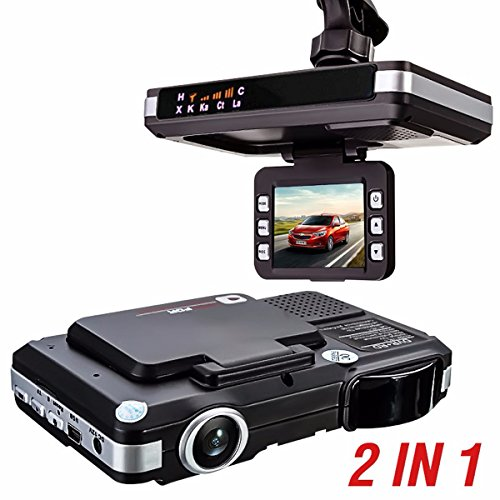 MATCC 2.0''LCD 720P 2In1 Car DVR+RD Camcorder Dashboard Dash Cam and Radar Detector with Support G-Sensor, Night Vision, Automatic Loop-Cycle Recording, Motion Detection