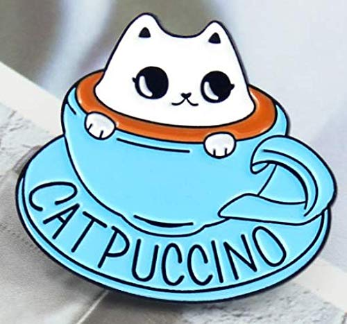 Blue Coffee Cup Kitten Brooch Cute Cat Animal Coffee Cup Enamel Pin Clothes Hat Badge Accessories Friends Kids Gifts Shipped from USA from Pins and Broches