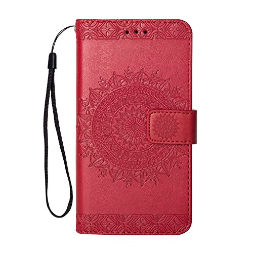 - Folice iPhone Xr Case, Folice Stylish Embossing Mandala Flower Pattern [Shock Absorbent] Credit Cards Slot Cash Pockets PU Leather Kickstand Wallet Cover Durable Flip Case (Red)