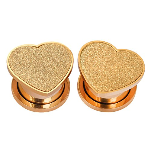 (PHD LTD Stainless Steel Gold Grind Heart Double Flared Ear Tunnels Plugs Stretcher Expander Kit 00g )