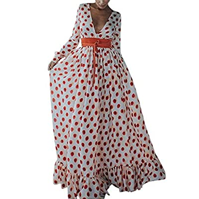 Palalibin Polka-dot Long-Sleeved V-Neck Large Swing Skirt,Women Casual Printed Belt Ruffled Loose Long Maxi Party Dress