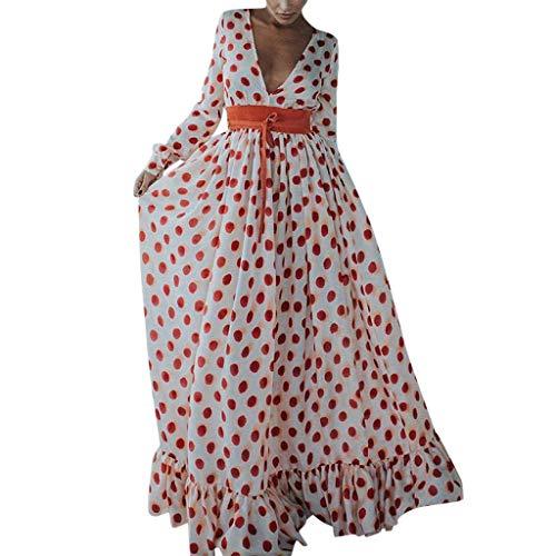 Usstore  Women Polka Dot Big Swing Maxi Dress Casual Fashion V-Neck Full Sleeve Belt Ruffled Hem Loose Party Dresses (XXXL, White)