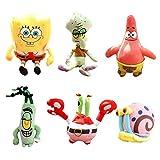 JAMOR Plush Toy Spongebob Plush Toy Doll Sucker Pendant Squidward Tentacles Gary the Snail Plankton Eugene H. Krabs (6)