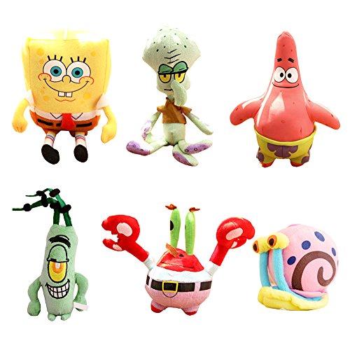 (JAMOR Plush Toy Spongebob Plush Toy Doll Sucker Pendant Squidward Tentacles Gary the Snail Plankton Eugene H. Krabs (6))