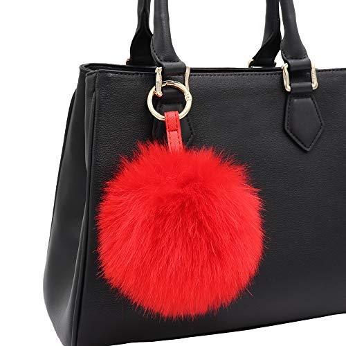 Aiphamy Faux Fur Pom Pom Keychain Purse Bag Charm Fluffy Ball Key Chain for Women (Red)