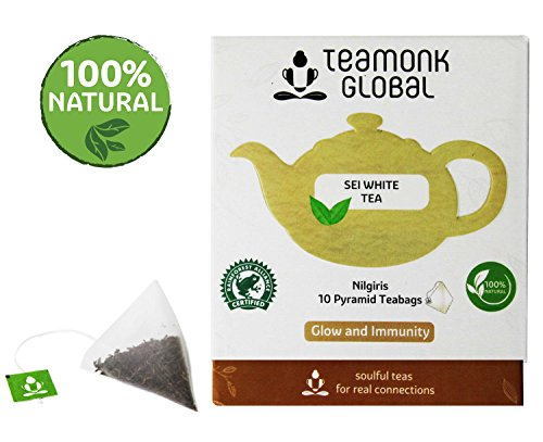 Nilgiri White Tea, 10 Teabags   Nourishes Glow from Within, Helps Build Immunity   100% Natural Whole Leaf Tea   No Additives