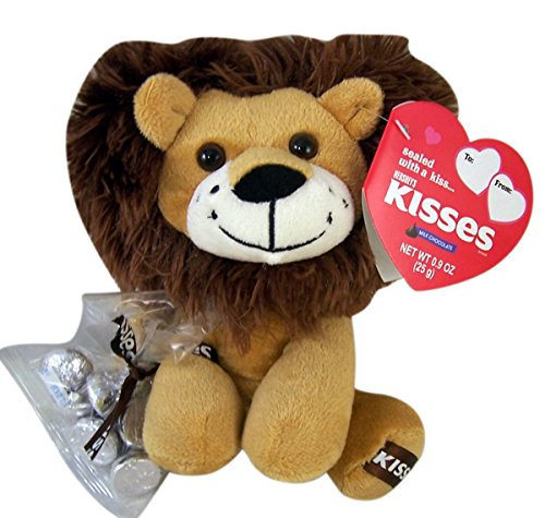 Hershey's Kisses Plush Heart Lion Toy with Chocolates, 9 Inch