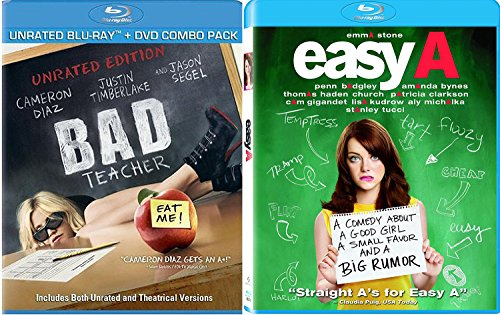 Easy A High School Movie Blu Ray + Bad Teacher Blu Ray + DVD Cameron Diaz Fun Comedy movie Set Combo Edition