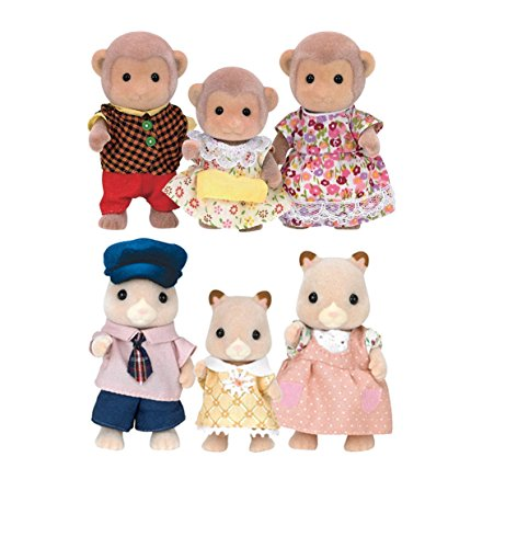 Critter Monkey - Calico Critters Fluffy Hamster Family with Mango Monkey Family Play Sets