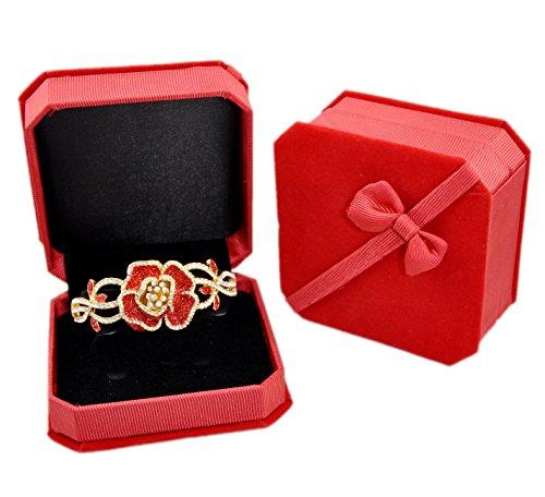 Luxury Fine Velvet Bracelet Watch Bangle Brooch Pin Jewelry Gift Box with Ribbon Bow