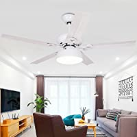 AorakiLights Vintage Ceiling Fan Light Led Five Wooden Fan Blades Acrylic Lampshade Chandelier Fan Reverse Dimming Timing Function Variable Speed Wind 42 Inch Remote Control - White