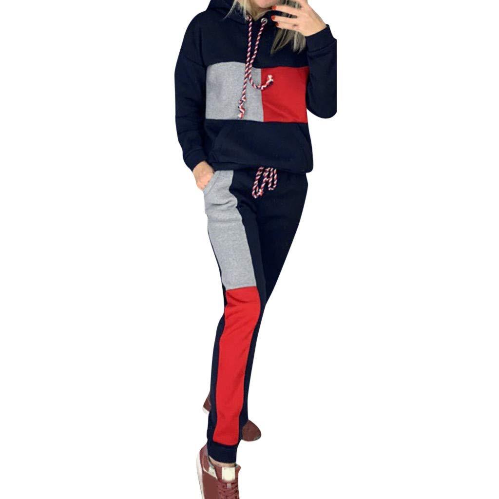 Fashion Women Casual Hoodies Splice Tracksuit Sweatshirt Hooded Sport Wolf Hoodie Tops+Long Pants Set Long Sleeves