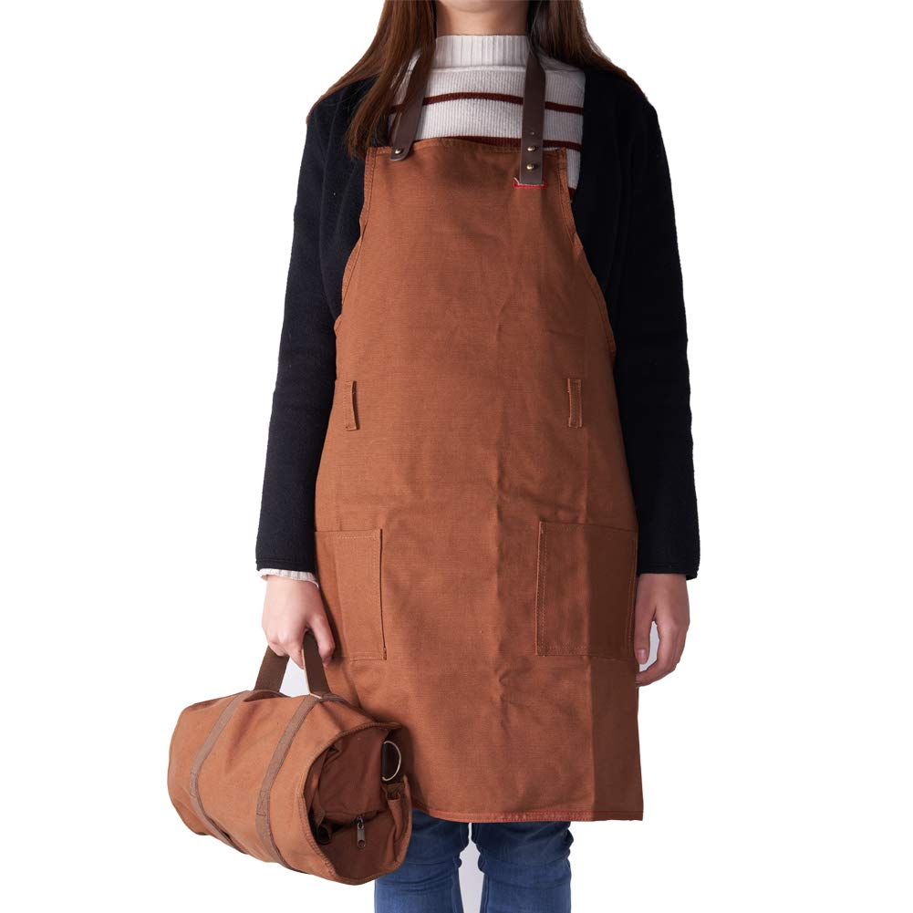 Barfame Bartender Kit Roll Bag and Canvas Apron with Pockets Set for Bartender, Cooking, BBQ, Gardening