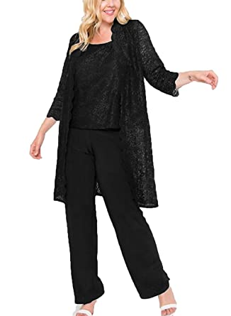 5d4a9ab4f0 The Peachess Chiffon Pant Suits with Long Jacket Lace Mothers Wedding Guest  Dress Plus Size Mother s