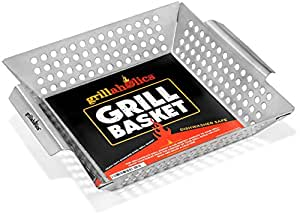 Grillaholics Grill Basket - Large Grilling Basket for More Vegetables - Heavy Duty Stainless Steel Grilling Accessories Built to Last - Perfect Vegetable Grill Basket for All Grills and Veggies