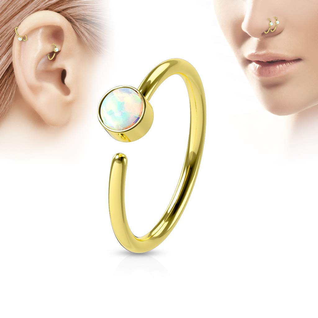 Inspiration Dezigns Nose Ring 316L Surgical Steel Bendable Hoop Ring with White Opal Set IP Plating