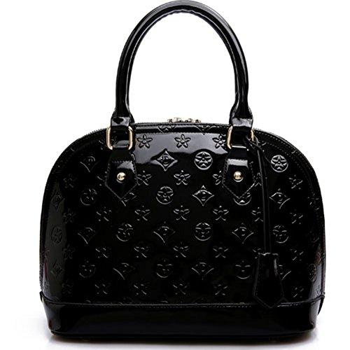 Keral Hombro Mujer Cuero Bolso Pu Color Negro Puro Elegante Mediano Casual Bolsas qTrqFZ