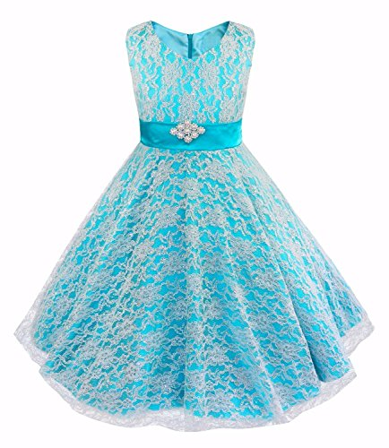 IEFiEL Kids Big Girls V-Neck Lace Flower Dress Graduation Pageant Ball Gown Blue 16