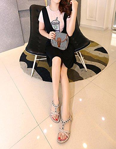 Plage Gris Sandals Plat Fleur Doux Minetom Femme Sandales Bohème Antidérapant Style Été Shoes Mode Sandales Chaussures HqZFxPgw