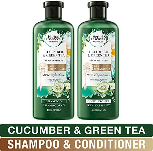 Herbal Essences, Volume Shampoo & Conditioner Kit With Natural Source Ingredients, For Fine Hair, Color Safe, BioRenew Cucumber & Green Tea, 13.5 fl oz, Kit