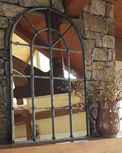 Signature Design by Ashley - Oengus Arched Window Finished Metal Mirror - -