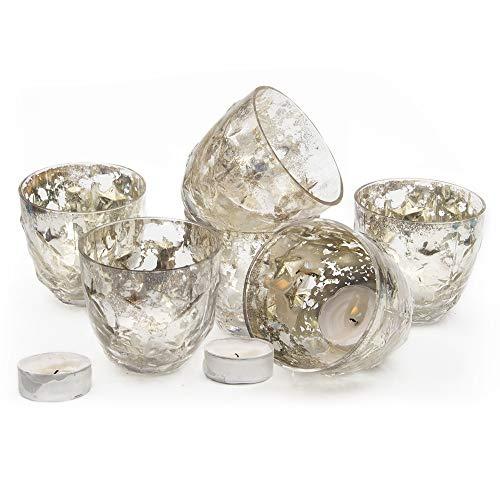 Chive - Set of 6 Vie Jolie Small Vintage Mercury Glass Flower Vase, Candle Votive, Decorative Vase for Wedding Centrepieces Home Decor and Place Settings (Chantale Petite) (Centrepieces Vintage Flower)