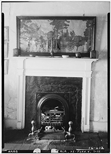 8 x 12 Photo 11. Historic American Buildings Survey Alex Bush, Photographer, December 28, 1934 Fireplace - Rosemount, County Road 19, Forkland, Greene County, AL 1864 02a by Vintography