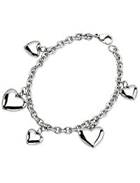 IceCarats Stainless Steel Hearts 8in Bracelet 8 Inch