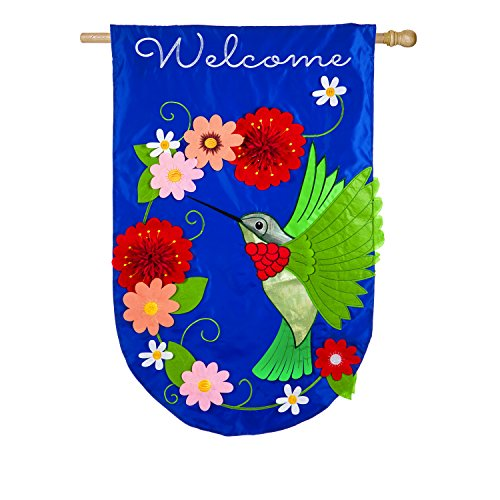 (Evergreen Flag Hummingbird Embellished Applique House Flag, 28 x 44 inches)