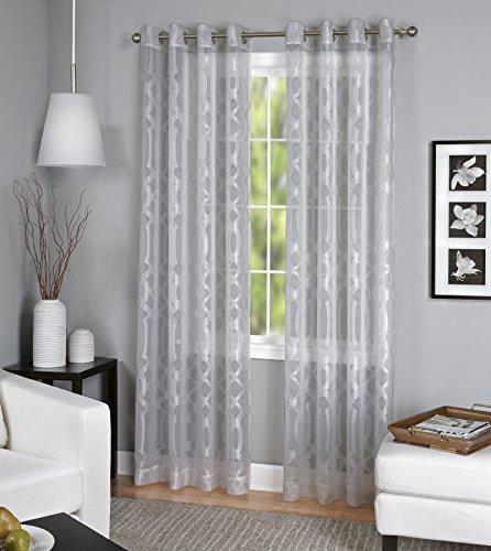 (Elrene Home Fashions 26865820096 Grommet Top Sheer Ironwork Damask Single Panel Window Curtain Drape, 52