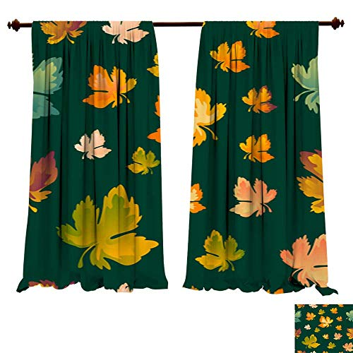 Curtains for Bedroom Autumn Leaves Seamless Pattern Vector Background Red Yellow and Green Maple Leaf for The Design of Wallpaper Fabric Decora Thermal Insulating,Panels,Drapes