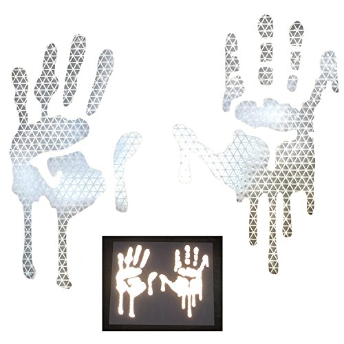 customTAYLOR33 High Intensity Grade Reflective Bloody/Dripping Hands Decals for Helmets, Windscreens, Rear Windows, Bumper Stickers (7 inches height, White/Silver/Chrome) ()