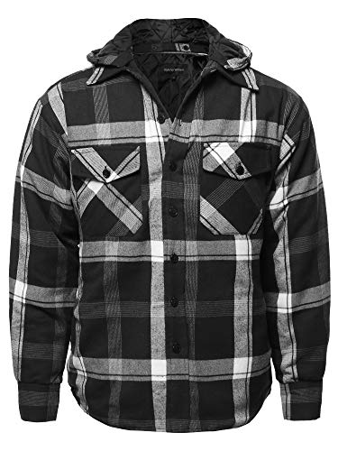 Casual Detachable Hoodie Plaid Flannel Quilted Button Jacket Black White XL