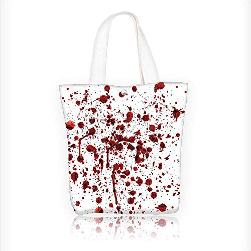 Canvas Zipper Tote Bag Printed Bloodstain Scary Zombie Halloween Themed Print Red White Reusable Canvas Zipper Tote Bag Printed 100% Cotton W16.5xH14xD7 INCH