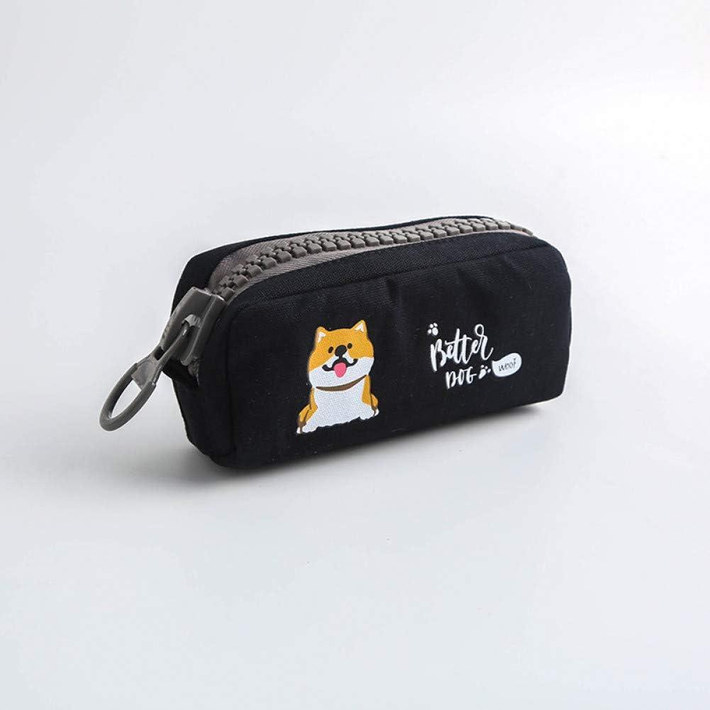 SASHUI Estuche Big Zipper Dog Estuche Para Lápices Dibujos Animados De Gran Capacidad Bolso Para Lápices Estuche Para Bolígrafos Lindo Regalo De Papelería Kawaii Útiles Escolares, Negro: Amazon.es: Oficina y papelería