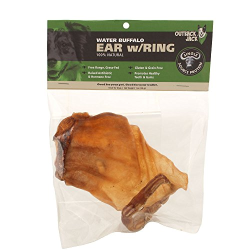 Outback Jack Water Buffalo Ears With Bully Stick Ring 100% Natural Dog Treats, Natural Brown ( 1 Pack Dog Treats)