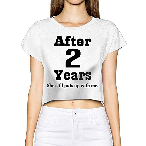 Richard Women's 2nd Anniversary (Funny) Outdoor White Short Sleeve Crop Top Tee - 2nd Street Shops Long Beach