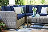 Leisure Made Forsyth 5 Piece Outdoor Sectional, Navy Fabric