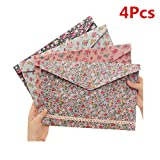 Funnylive 4 Pcs;Individualized Felt A4 Size Floral Pattern Document Folder with Snap Button Office Document Cash Coin Stationery Storage Organizer