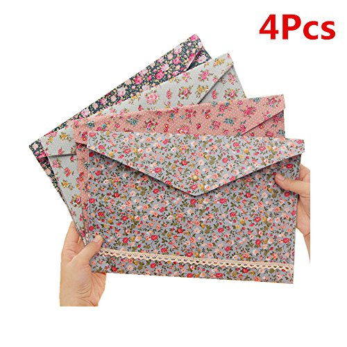 Felt Envelopes - Funnylive 4 Pcs;Individualized Felt A4 Size Floral Pattern Document Folder with Snap Button Office Document Cash Coin Stationery Storage Organizer