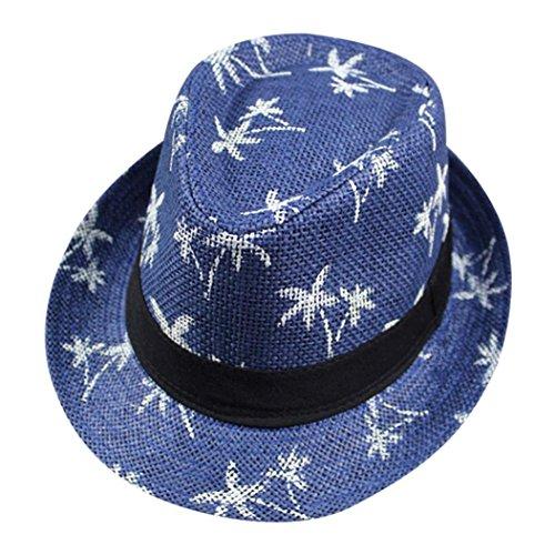 (Straw Structured Fedora Hat for Women and Men, Iuhan Unisex Summer Straw Structured Fedora Hat Maple Leaf Straw Beach Sun Summer Hat Cap)