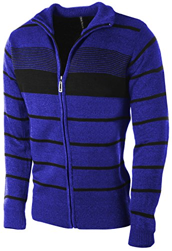 Blue Striped Sweater (Enimay Men's Zip Up Striped Turtleneck Long Sleeve Sweater Business Style Cardigan Royal Blue Small)